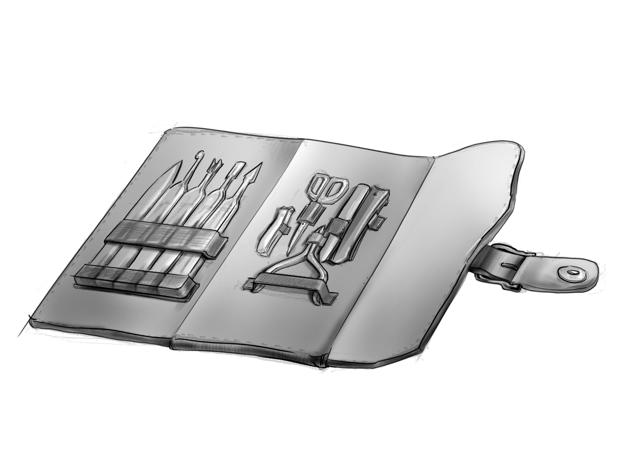 custom folding leather tool pouch